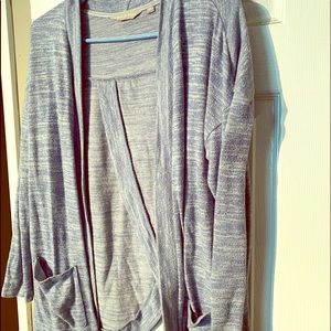 Blue heathered knit cardigan